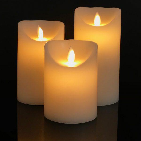 3 Stück weiße LED Blockkerzen (Ø: 7,5 cm)