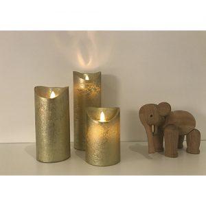 3 Stück LED Kerzen Gold (Ø 8,5 cm)