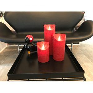 3 Stück LED Kerzen rot (Ø 8,5 cm)