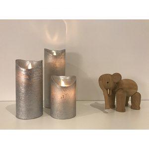 3 Stück LED Kerzen Silber (Ø 8,5 cm)