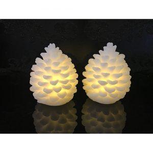 4 Mini LED Zapfenlichter (braun/weiß)