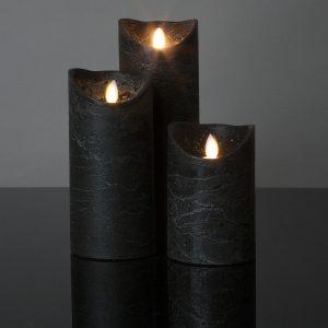 3 Stück LED Kerzen schwarz (Ø 8,5 cm)