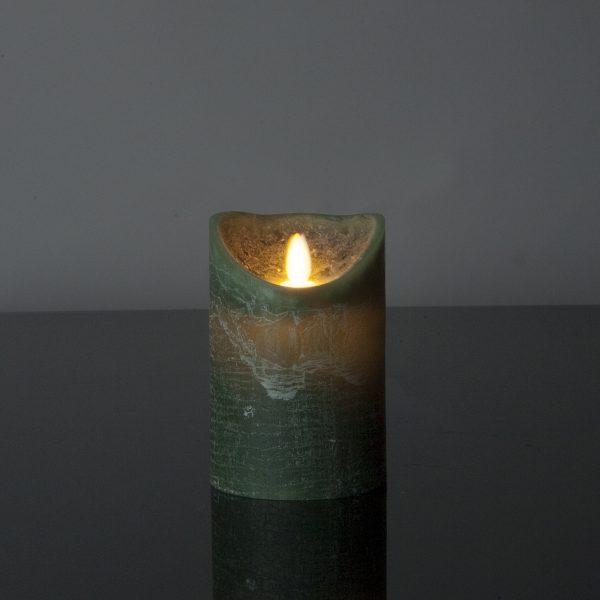 1 Stück LED Kerze dunkelgrün (12,5 cm)