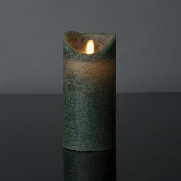 1 Stück LED Kerze dunkelgrün (17,5 cm)