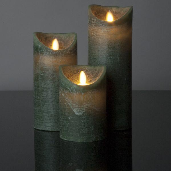 3 Stück LED Kerzen dunkelgrün (Ø 8,5 cm)