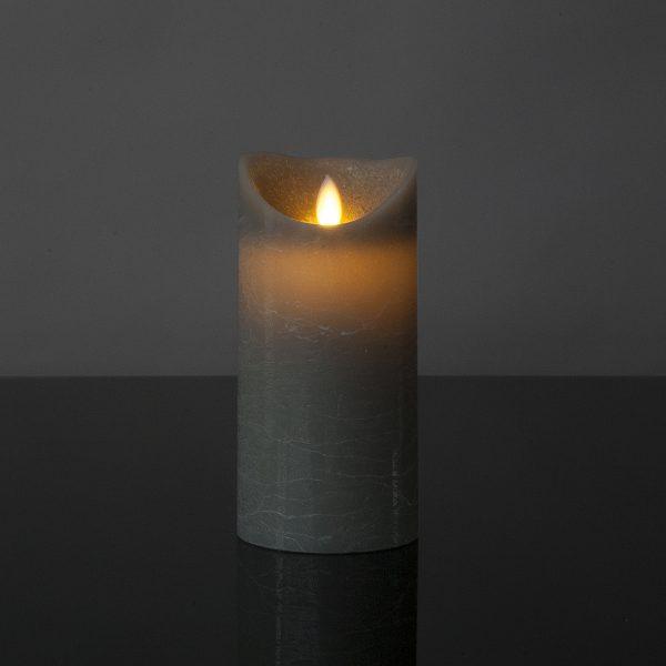 1 Stück LED Kerze grau (17,5 cm)