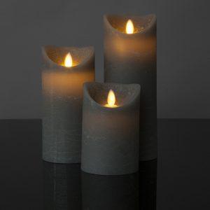 3 Stück LED Kerzen grau (Ø 8,5 cm)