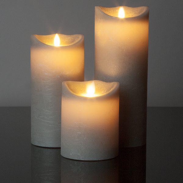 3 Stück große LED Kerzen grau (Ø: 10 cm)