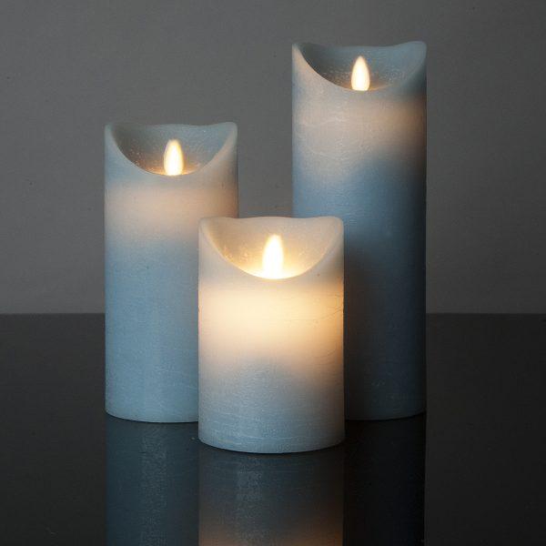 3 Stück LED Kerzen mint (Ø 8,5 cm)
