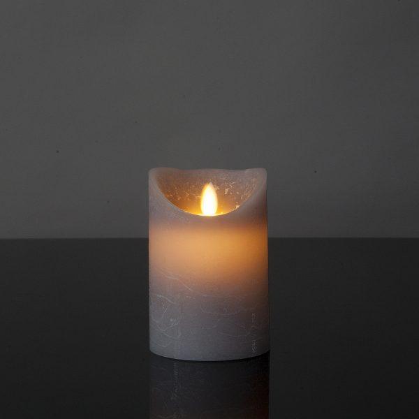 1 Stück LED Kerze grau / lila (12,5 cm)