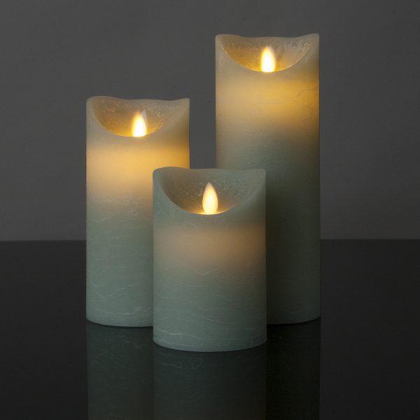 3 Stück LED Kerzen light mint (Ø 8,5 cm)