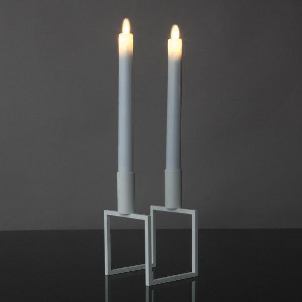 2 Stück LED Tafelkerzen mit beweglicher Flamme (grau)