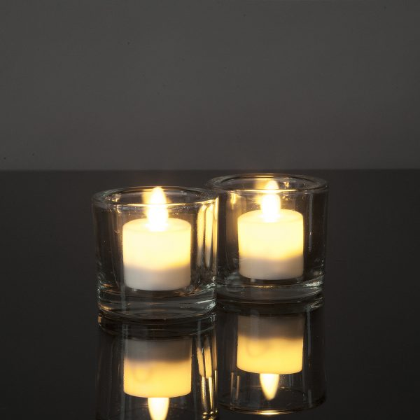 2 Stück LED Teelichter mit beweglicher Flamme