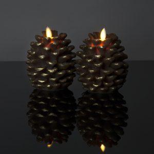 Kleines LED Zapfenlicht mit beweglicher Flamme (braun)