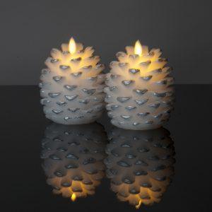 Kleines LED Zapfenlicht mit beweglicher Flamme (weiß)