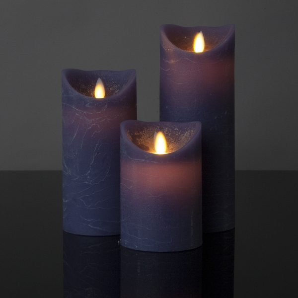 3 Stück LED Kerzen lila (Ø 8,5 cm)