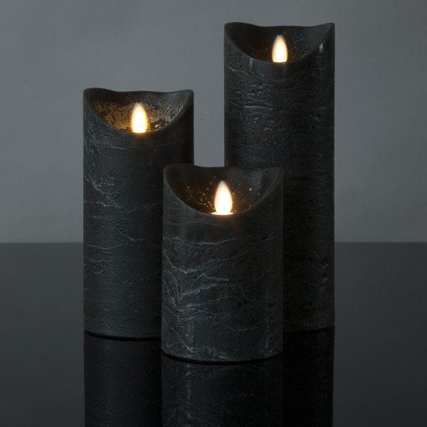 3 Stück LED Kerzen anthrazitgrau (Ø 8,5 cm)