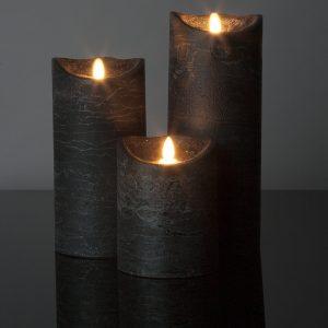 3 Stück große LED Kerzen schwarz (Ø: 10 cm)