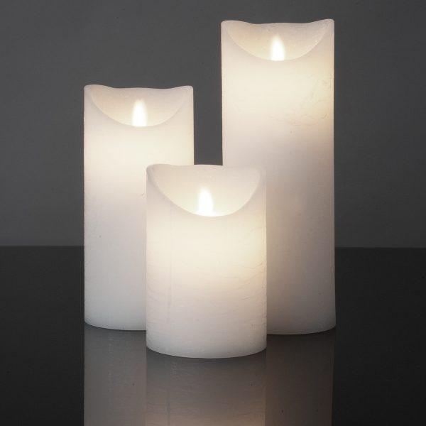 3 Stück LED Kerzen weiß (Ø 8,5 cm)