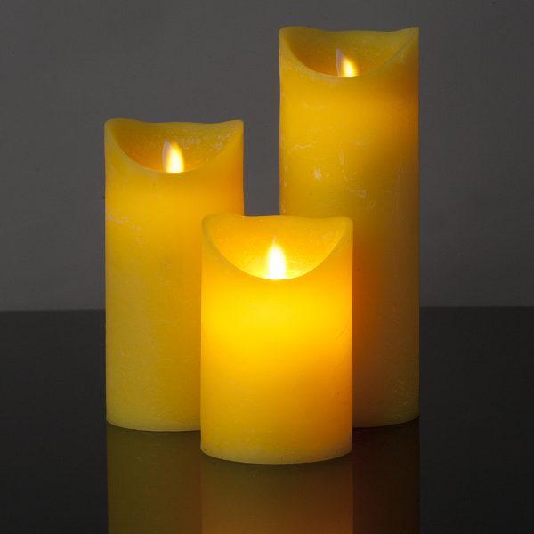 3 Stück LED Kerzen gelb (Ø 8,5 cm)