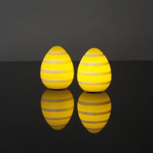 2 Stück LED Ostereier (Gelb mit Streifen)