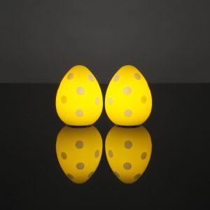 2 Stück LED Ostereier (Gelb mit Punkten)