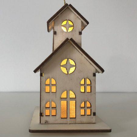 Holzhaus mit LED Licht (Kirche)
